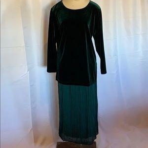 Carole Little Velvet 2 Piece Skirt Set Petite 12